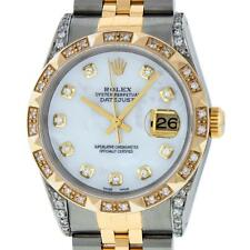 Pre-Owned Rolex Men's Datejust 16013 SS/18K Yellow Gold MOP Diamond Dial Bezel