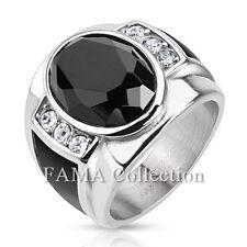 FAMA Diamond Cut Onyx Stone w/ Black Enamel Sides Stainless Steel Ring Size 9-13