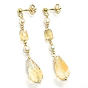 Drop Earrings Yellow Gold, 18K 750, Pearls, Citrine Drop, Faceted