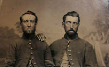 Rare Antique Civil war two soldiers tintype photo