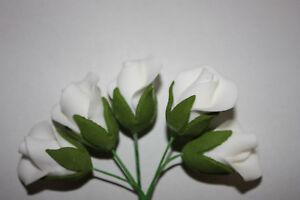 5 WHITE ROSE HALF BUDS, Edible Sugar Flowers, Sugar Paste, Cake Decorating