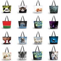 Fashion Pattern Lightweight Foldable Tote Soft Shoulder Shopping Bag Handbag Bag