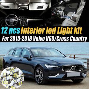12Pc White Car Interior LED Light Bulb Kit for 2015-2018 Volvo V60/Cross Country