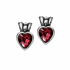 Alchemy Gothic Pewter Claddagh Heart Skull Red Crystal Stud Earrings E379
