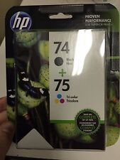 HP 74 / 75 BLACK & TRI-COLOR NEW GENUINE COMBO INK CARTRIDGES , NEW IN BOX