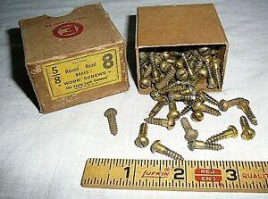 """Antique Vintage 5/8"""" Round Head Brass Wood Screws 125+ Box Furniture Restoration"""