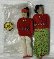 Lot 2 VINTAGE Pair NAVAJO INDIAN DOLLS Made By American Indians couple boy girl