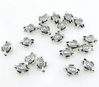 Wholesale 50pcs Retro Silver Two-Sided Nice sea turtle Spacer Beads DIY Crafts