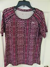 Nwot Under Armour Fitted S/S Shirt Top Size Large Hot Pink Heat Gear Ua Women's