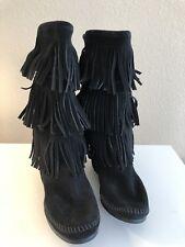 Women's MINNETONKA Black Suede Boots - 3 Layer Fringe - Flats 9 ($98)