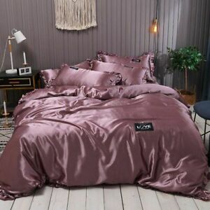 Duvets Cover Set Pure Satin Lace Luxury Silk Bedding Quilt Covers Multicolor New