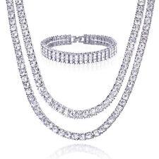 """Men's 18"""" 20"""" Double CZ Silver Plated Tennis Chain Necklace 3 Row Bracelet Set S"""