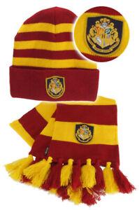 Harry Potter HOGWARTS KNIT HAT SCARF SET Red Yellow Gryffindor Hermione LICENSED
