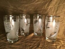 4 LIBBEY fall leaves metallic silver frosted tumbler water glasses vintage 5.25""