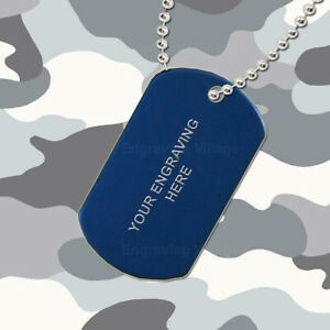 Blue Aluminium - Personalised / Engraved-Army-Military-Dog-ID / Tag & Chain