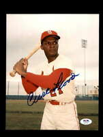 Curt Flood PSA DNA Coa Hand Signed 8x10 Photo Autograph