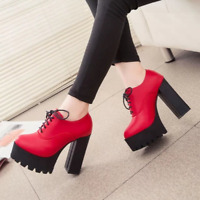 Women's Platform High Chunky Heels Pumps Lace Up Casual Shoes Boots PU Leather