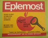 1970s NORWAY SOFT DRINK CORDIAL LABEL, HANSA BRYGGERI BERGEN, EPELMOST