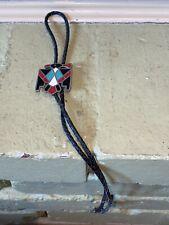 Vintage Black Bolo Tie-Zuni Thunderbird Turquoise, Jet, Coral