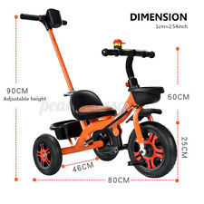 Baby Kids Toddler Tricycle Steel Stroller w/ Push Handle Foldable Pedal Bike
