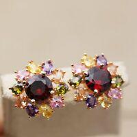 18K Boucle d'oreille clous femme rainbow Tournesol pierre Stud earrings Bohemia
