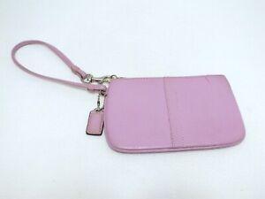 Coach Women's Small Lavender Pebbled Leather Wallet Purse Wristlet