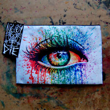 Cosmetic Bag Small Clutch Makeup Case Colorful Edgy Rainbow Fashion Dripping Eye