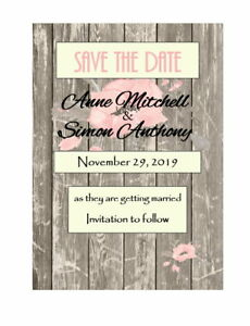 50 Personalized Ivory Wooden Pink Barnwood Vintage Wedding Save The Date Cards