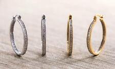 Diamante Genuine Diamond Accent Hoop Earrings Set Of 2 Gold Plated