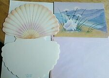 Vtg Olympicards SeaShells embossed note cards & postcards 11 pc stationery set