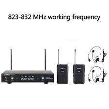 2xUHF Wireless Mikrofon System Headset Empfänger Karaoke Set Funkmikrofon DE