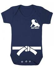 """Baby Play Suit """"Baby Karate with White Belt"""" Karate Baby, Strong Bab - Baby Grow"""