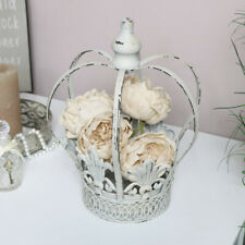 White metal crown planter candle holder vintage shabby chic home decor gift idea