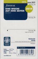 Filofax Mini 2019 Kalender Einlage 1Woche/2Seiten A8 Wochenblätter DEU 19-68140
