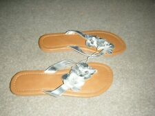 Ladies Silver Flat Toe Post Sandals Size 5/6 from F & F