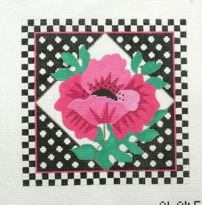 Amanda Lawford Single Poppy with Dots Handpainted Needlepoint Canvas