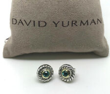 DAVID YURMAN Classic Cookie Cable Earrings Blue Topaz Sterling Silver 14k Gold