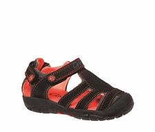 Boys Shoes Grosby Pirate Black/Red Covered Sandals Size 6-12 New Hook and Loop