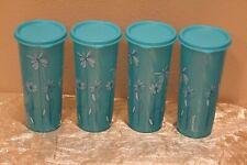 New Vintage Set of 4 Aqua & Flowers Tupperware Beautiful 16oz Tumblers with lids
