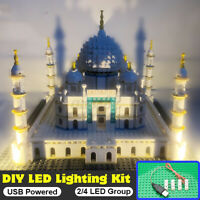 LED Lighting DIY Bricks Box Plastic Taj Mahal Church Architecture Gift Toy Set