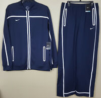NIKE DRI-FIT BASKETBALL TRACK SUIT JACKET + PANTS NAVY BLUE WHITE (SIZE XL TALL)