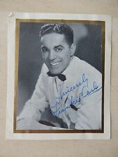 "Frankie Carle Autographed 3"" X 3 1/2"" Photograph from Estate"