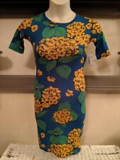 LuLaRoe Julia XXS Yellow Hydrangeas With Green Leaves Blue Brand New With Tags