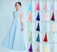 New Junior Lace Princess Flower Girl Dress Wedding Bridesmaid dresses 2-16 years
