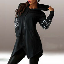 Women Ladies PLAIN Hooded Hoodie Zip Sweatshirt Jackets Coat Outwear Plus Size
