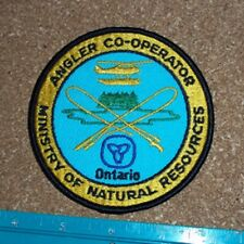 ONTARIO MINISTRY OF NATURAL RESOURCES ANGLER CO-OPERATOR PATCH mnr,fishing lures