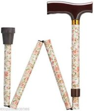 Ladies Pink Floral Adjustable Folding Walking Cane/Stick/Canes With Flowers