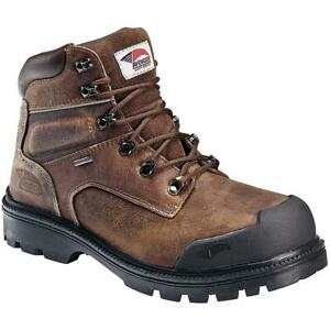 Avenger Mens Brown Leather Steel Toe Work Boots Shoes 10 Medium (D) BHFO 8218