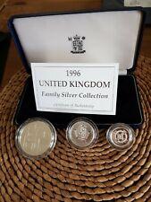 More details for 1996 united kingdom family silver proof set £1 £2 £5  box coa # 41