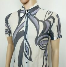 "Versace Mens Shirt Silk Floral Tribal VJC Spell Out Size L Chest 42"" New RRP£389"
